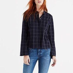 Madewell Bell Sleeve Windowpane Button Down Shirt